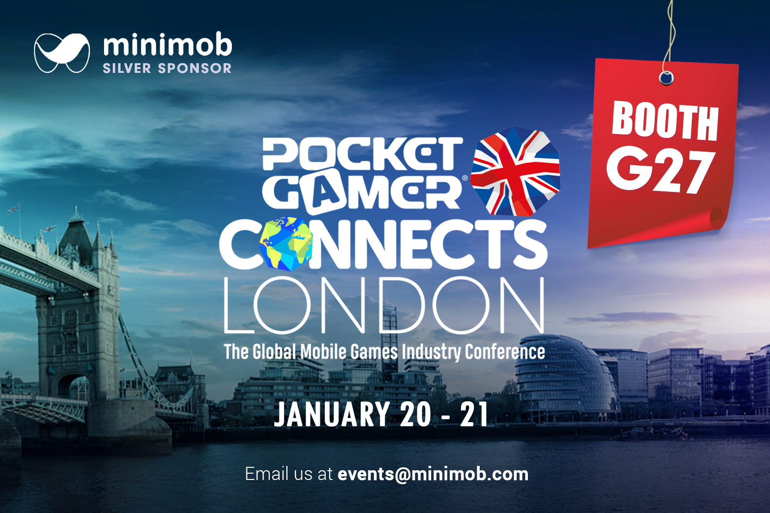Minimob exhibits & sponsors @ POCKET GAMER Connects London, UK
